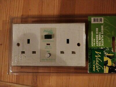 Safetysure White Twin 13A 30mA Unswitched RCD Socket