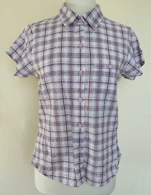 REGATTA GREAT OUTDOORS Ladies Cotton Purple and White Checked Shirt Size 14