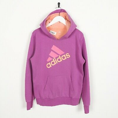 Vintage Kids Girls ADIDAS Big Logo Hoodie Sweatshirt Pink | Age 14-15 Years