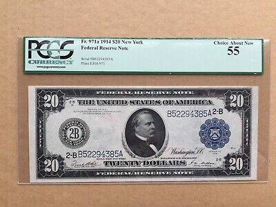 1914 $20 FRN New York District Fr. 971a PCGS 55 - Choice About New