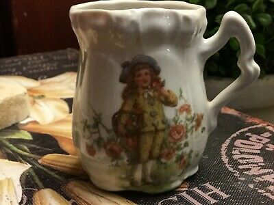 """Antique-Victorian-Creamer/Pitcher-Child Carrying Flowers-3""""H-FREE SHIPPING!"""
