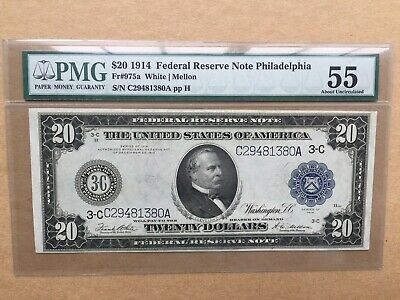 1914 $20 FRN Philadelphia District Fr. 975a PMG 55 - About Uncirculated