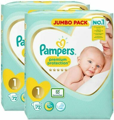 Pampers Premium Protection Nappies Size 1 Jumbo Pack of 144 Diapers Newborn Baby