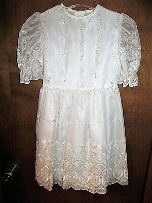 Vtg 80'S Sheer White Nylon? With Lace Girls Party  Dress Sz 10-12?