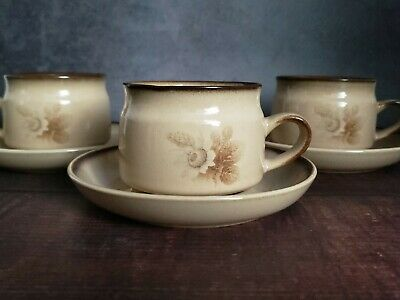 Denby Memories Set of 3 Cups with Saucers, Handcrafted in England, c.1980s