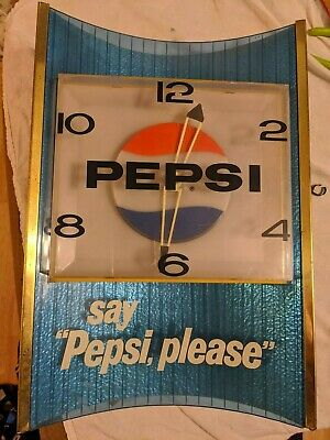 """Vintage Antique 1960s  LIGHTED PEPSI WALL CLOCK """"Say Pepsi Please"""" Working"""