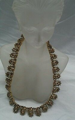 Beautiful vtg St.John amber crystal  gold tone collar  necklace