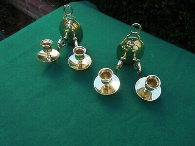 Pair Antique Brass Double Wall Sconces Candle Stick Holders