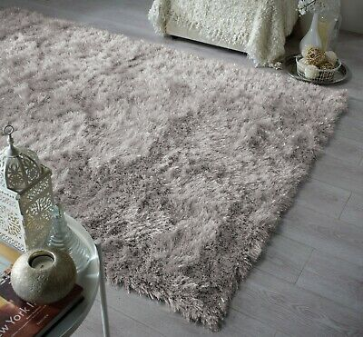 Dazzle High Pile Sparkle Silky Shiny Shimmer Soft Shaggy Silver Grey Rug Carpet