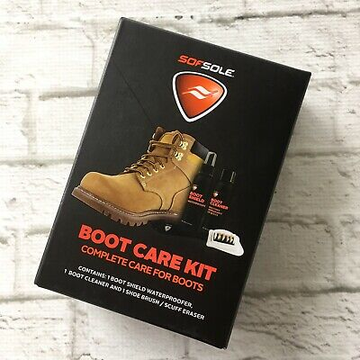 SofSole Boot Care Kit Waterproofer Cleaner Shoe Brush Scuff Eraser New In Box