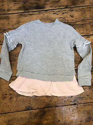 Girls Sweatshirt Age 10 Years Grey With Pink