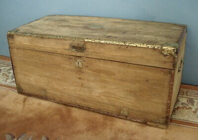 Well travelled 19th Century camphor wood trunk