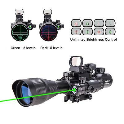 Pinty 4-12X50EG Tactical Rangefinder Reticle Rifle Scope Green Laser & Dot Sight
