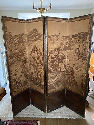 Antique Folding Four Panel Tapestry Screen Room Divider