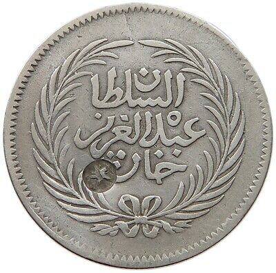 TUNISIA 2 RIYAL PIASTRES  1289 COUNTERMARKED STAR RARE  #t59 261