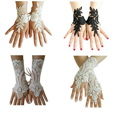 1 Pair Women Lace Short Gloves Embroidered Bridal Fingerless Elegant Party Dress