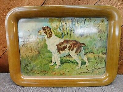 Vintage Ole Larsen Litho Tin Metal Hunting Dog Serving Tray Springer Spaniel