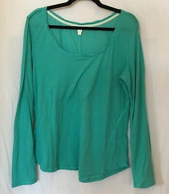 "ANTHROPOLOGIE ""E"" by ELOISE Blue Long Sleeved T Shirt Top Sz XL Light Weight"
