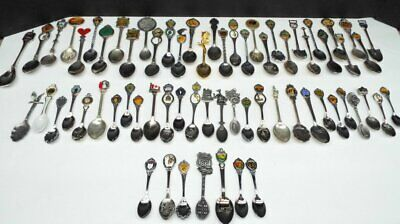 Lot of 67 Vintage Souvenir Collector Spoons Charms Enamel Silver Plate Stainless