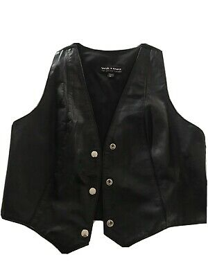 Wilsons Leather Experts Womens Snap Down Vest Black Sleeveless 100% Leather NICE