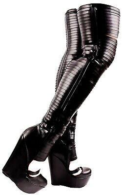 "7/"" Black Latex Thigh High Fetish Hooker Pretty Woman Stripper Boots size 8 9 10"