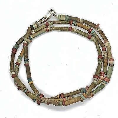 Ancient Egyptian Colored Faience Clay Mummy Bead Necklace Artifacts - Ca 600 BC