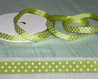 5 metres Grosgrain 10mm Spotted Lime  Ribbon