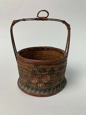 Antique Chinese Wedding Basket With Handpainted Cherries