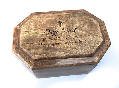 Personalised Human Adult Memorial Ashes Urn Cremation Wooden Casket - Small