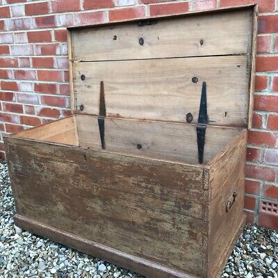 LARGE French Painted Antique Pine Trunk Chest - Original Chippy Paint
