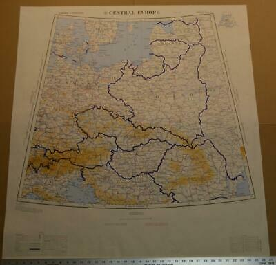 Large Rare Vintage US Army Map Service Topo Map of Europe 37x40 1965