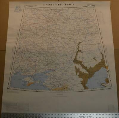 Large Rare Vintage US Army Map Service Topo Map of Western Russia 37x40 1965