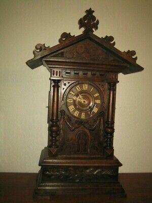 Rare Large Black Forest Carved  Mantle Trumpeter Clock