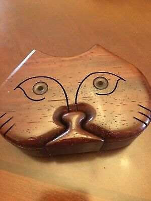 Richard Rothbard Vintage HAND CARVED WOOD CAT PUZZLE BOX Signed