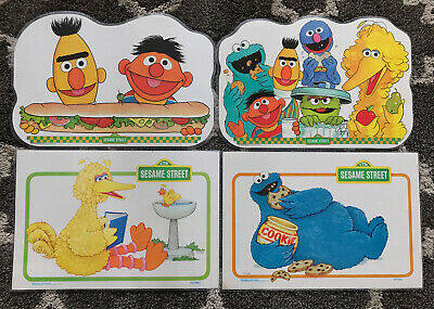 Vintage Sesame Street Laminated Place Mat Lot Big Bird Oscar Cookie Activity 80s