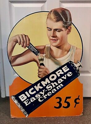 Advertising Bickmore Easy-Shave Cream Die-Cut Store Sign Ronald Reagan 1930's