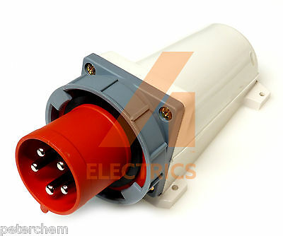 63A appliance inlet plug 5 pin 3 phase red 415V waterproof IP67 3P+N+E 63 amp