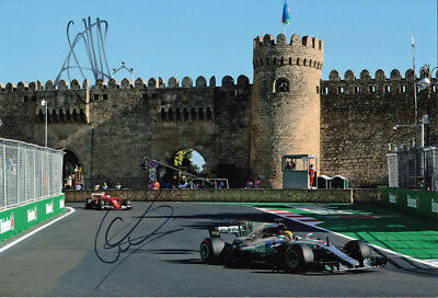 Lewis Hamilton & Sebastian Vettel Signed 8X12 Inches 2017 F1 Baku  Photo
