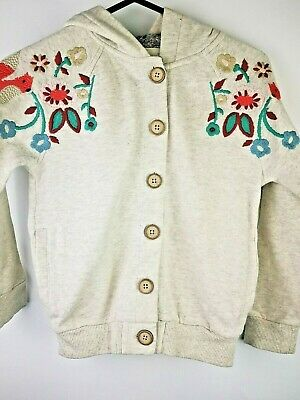 next girls embroidered cream  hoodie button up front size 5-6 yrs new with tags