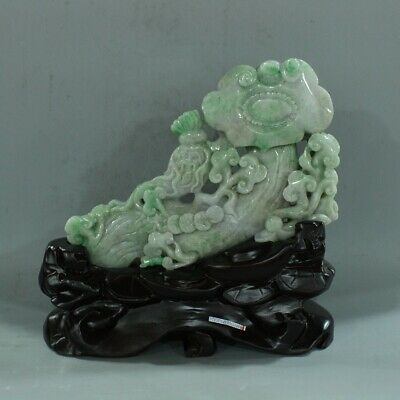 Chinese Exquisite Hand carved Ginseng Ganoderma carving jadeite jade statue