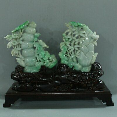 Chinese Exquisite Hand carved bamboo flower bird carving jadeite jade statue