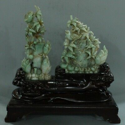 Chinese Exquisite Hand carved bird bamboo carving jadeite jade statue 2pcs