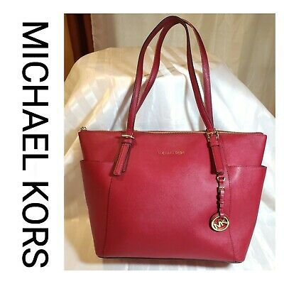 NWT MICHAEL KORS OYSTER Beige Leather LARGE JET SET CHAIN