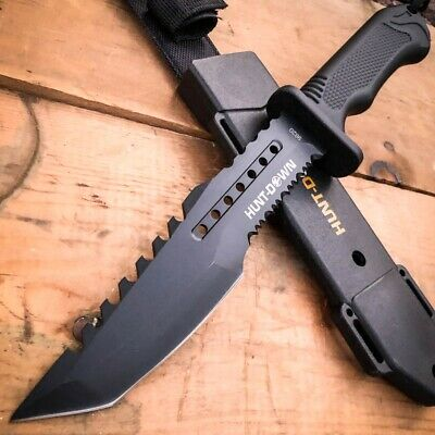 "12"" Military Tactical Hunting Fixed Blade TANTO Bowie Camping Knife Fire Starter"