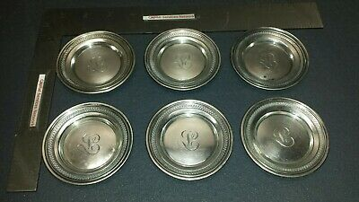 GORHAM STERLING SILVER Coaster Set of 6 Early dates to 1863-1890's