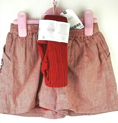 next girls red shorts and tights set age 5-6 yrs new with tags