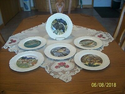 The House Of Seagram Set Of 6 Plates Vintage 1970's Hand Colored By 3 Artist
