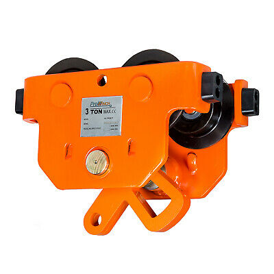 Prowinch 3 Ton I Beam Manual Pushing Trolley with rubber bump stops