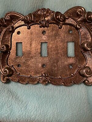 VERNON Vintage Brass Metal Ornate  3 Switch Wall Plate EUC