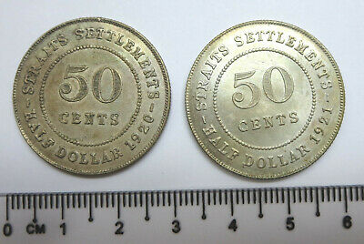 2 British Straits Settlements 50 fifty cents silver coins 1920 & 1921 KGV, UNC